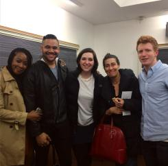 With fellow performers Emily Jenda, Arri Simon, Ben Wexler, and composer Jeanine Tesori at Yale.