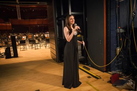 Christiana, rehearsing for the live cinema broadcast from the Kimmel Center. Photo credit Kat Villacorta.