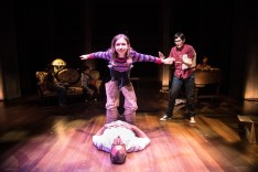 With Autumn Rae Shannon (Small Alison) and Rob Sutton (Bruce) in Fun Home. Photo by Wesley Hitt.