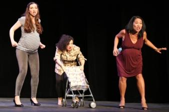 "With Antonietta Corvinelli and Christine Toy Johnson in ""Urban Momfare."" Photo by Dixie Sheridan."