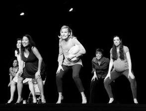 "With Antonietta Corvinelli, Sandi DeGeorge, Christine Toy Johnson, Tiffan Borelli and Cheryl Howard in ""Urban Momfare."" Photo by Dixie Sheridan."